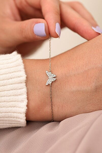 MySilvers Gümüş Kelebek Minimal Bileklik