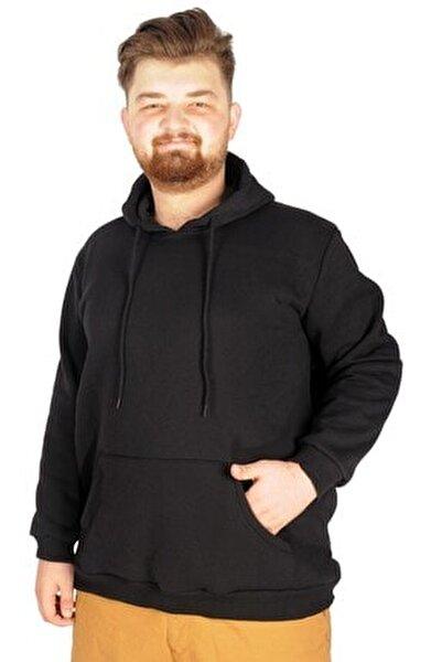 Büyük Beden Sweat Kapson Kangoroo Pocket Recycle B20532 Siyah