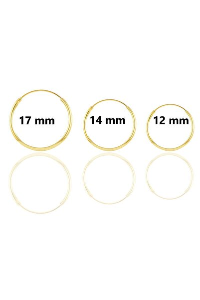Söğütlü Silver Gümüş Altın Yaldızlı Üç Boydan Oluşan Halka Küpeler