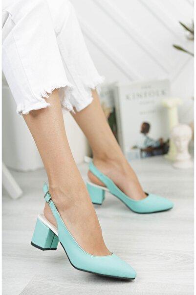 Marla Karen Linna Turkuaz Cilt Topuklu Kadın Ayakkabı