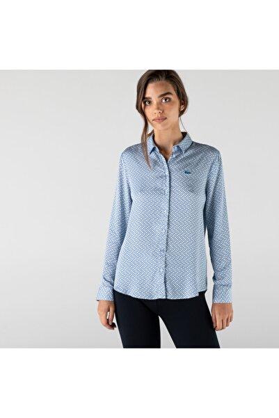 Lacoste Kadın Slim Fit Desenli Mavi Gömlek