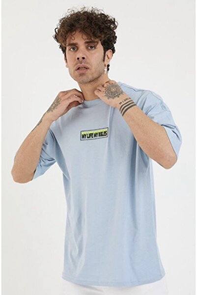 BREEZY Unisex Oversize Enjeksiyonlu Mavi T-shirt My Lıfe My Rules