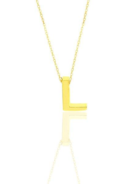 Söğütlü Silver Gümüş Altın Yaldızlı Üç Boyutlu Minimal L Harf Kolye