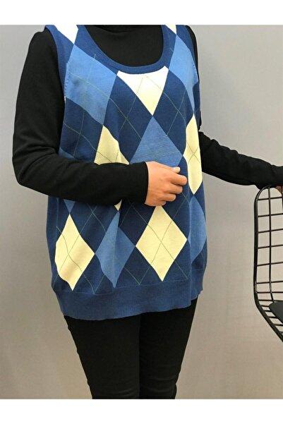 Perlina Kadın Ekose Desenli V Yaka Bluz