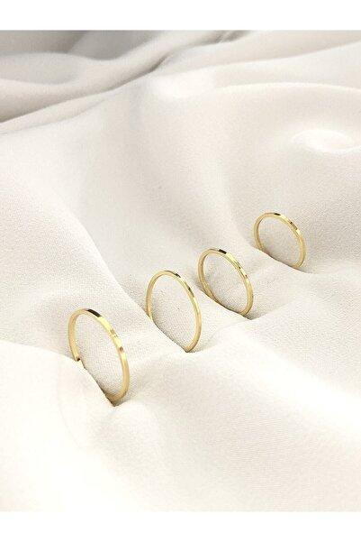 The Y Jewelry Kadın Altın Renk 4lü Eklem Yüzük