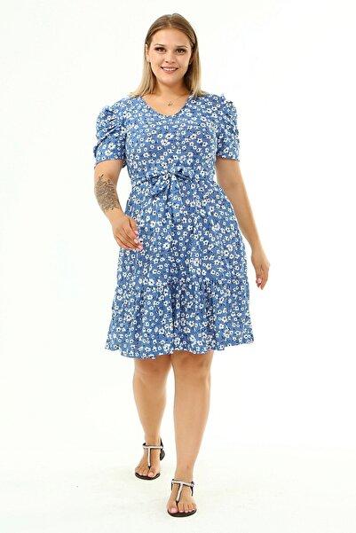 RURIS Çiçek Desenli Büyük Beden Balon Kol Elbise - Mavi