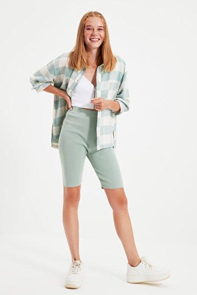 TRENDYOLMİLLA Mint  Oduncu Cep Detaylı Ekose Ceket Gömlek TWOAW21GO0321