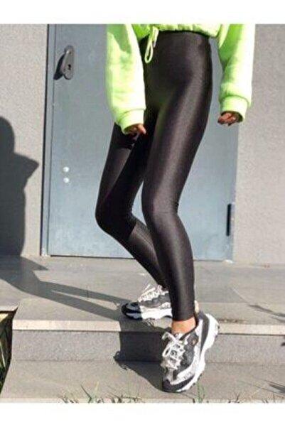 HG BUTİK Kadın Siyah Parlak Yüksek Bel Toparlayıcı Disko Tayt