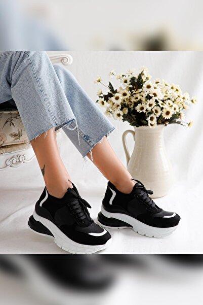 Limoya Sharon Siyah Beyaz Streç Sneakers Spor Ayakkabı