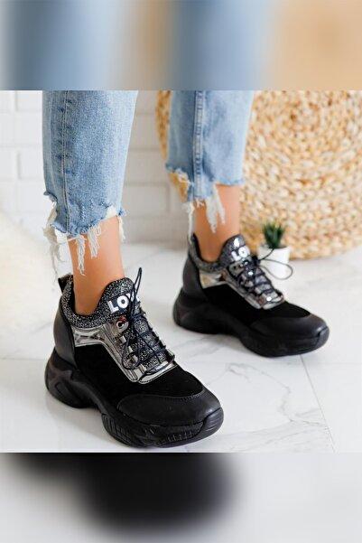 Limoya Damaris Siyah Platin Streç Gizli Topuklu Sneakers Spor Ayakkabı