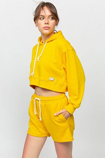 Mon Moule Sarı Kadın Kaşkorse Detaylı Kapşonlu Sweat