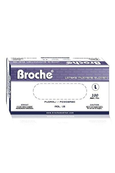 Broche Pudrasız Lateks Muayene Eldiveni 100'lü 20 Paket (1koli) Large