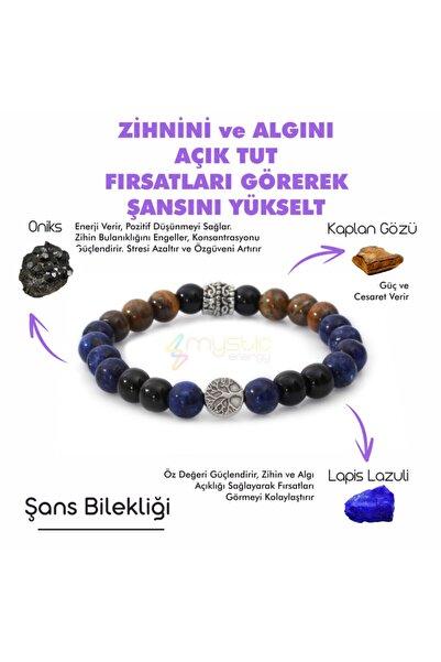Golden Palace Unisex Şans Doğaltaş Tılsım Bilekliği Lapis Lazuli Kaplangözü Oniks Doğal Taş Bileklik