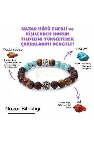 Mystic Energy Unisex Nazar Doğaltaş Tılsım Bilekliği Lal Turkuaz Kaplan Gözü Doğal Taş Bileklik