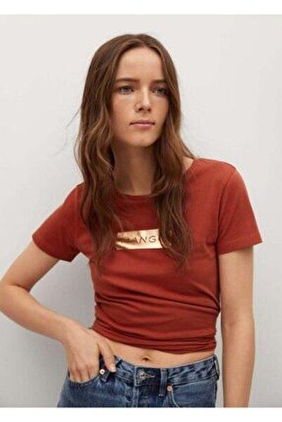 Kadın Kırmızı Geri Dönüştürülmüş Pamuklu Logolu Tişört