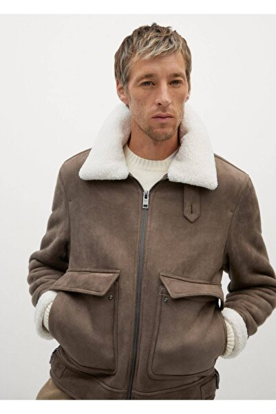 MANGO Man Suni Koyun Yün Astarlı Avaitor Ceket