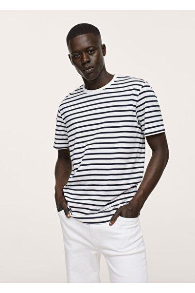 MANGO Man Pamuklu Çizgili Tişört