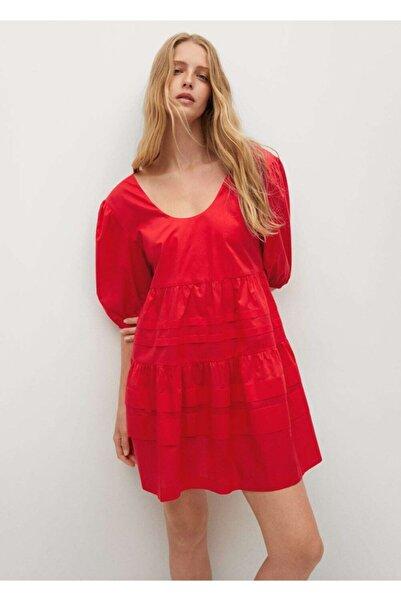MANGO Woman Kadın Kırmızı Fırfırlı Pamuklu Elbise
