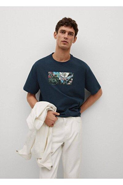 MANGO Man Erkek Mavi Basquiat Desenli Tişört