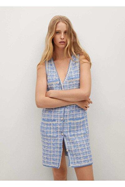 MANGO Woman Kadın Mavi Cepli Tüvit Elbise