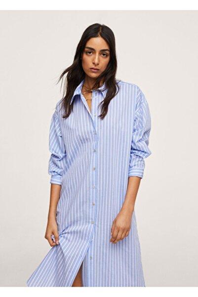 MANGO Woman Kadın Mavi Çizgili Gömlek Elbise