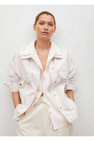 MANGO Woman Kadın Ekru Oversize Kot Ceket