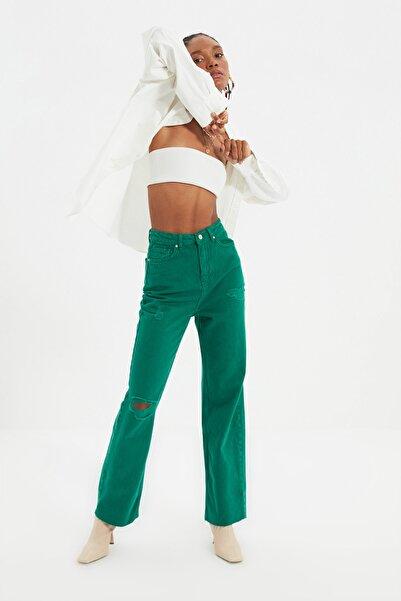 TRENDYOLMİLLA Yeşil Yırtık Detaylı Yüksek Bel 90's Wide Leg Jeans TWOAW22JE0256