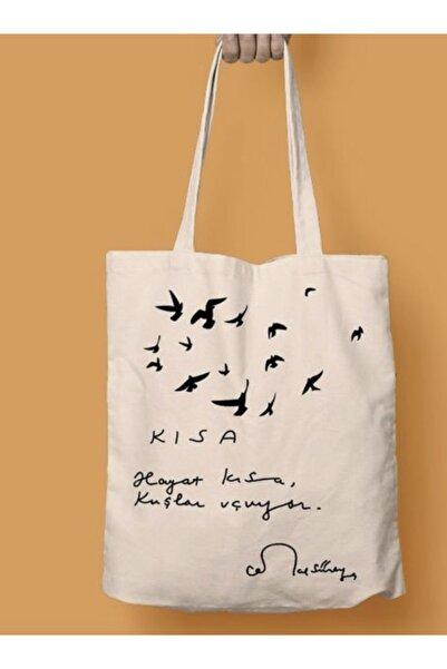 Juzk Solutions Hayat Kısa Kuşlar Uçuyor Cemal Süreya Baskılı Ham Bez Omuz Çanta