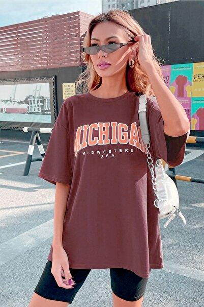 Millionaire Kadın Bordo Michigan Oversize T-shirt