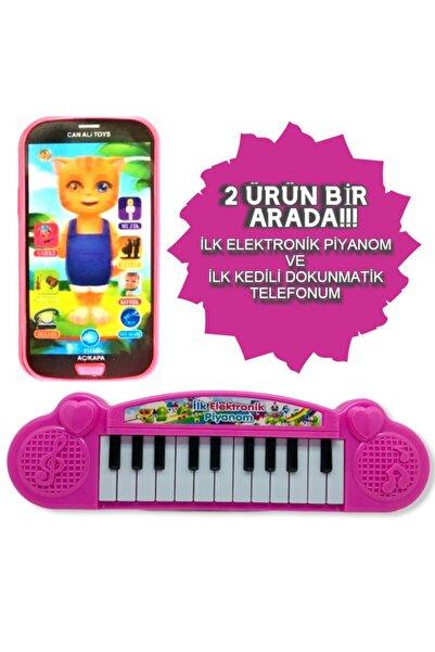 grs oyuncak Türkçe Müzikli Sesli Dokunmatik Kedili Telefon Pembe Ve Piyano 22 Tuşlu Sesli Ilk Elektronik Piyano