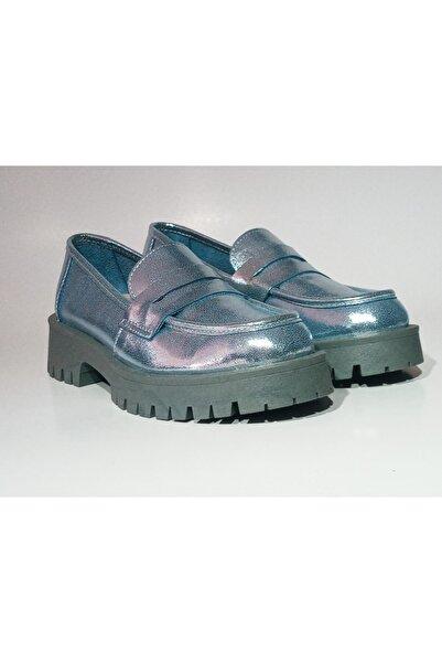 BELİSİA Kadın Mavi Sedefli Deri Comfort Loafer Ayakkabı 5232