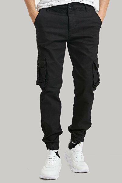 ElitWear Erkek Slim Fit Beli Kemerli Paçası Lastikli Cepli Kargo Pantolon