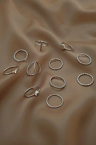 Bej Takı Zirkon Taşlı 11 Li Silver Eklem Yüzük Seti