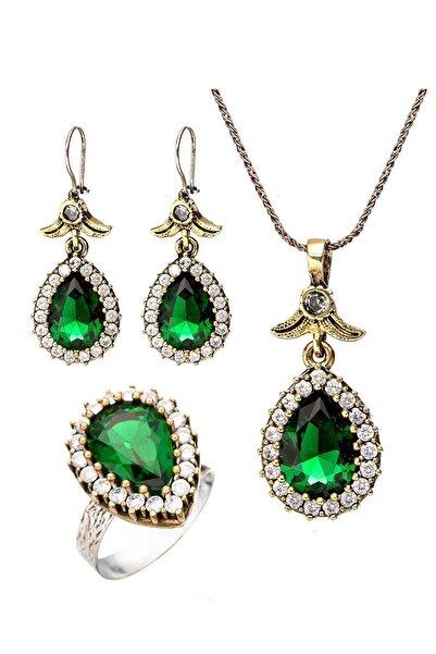 Beyisa Yeşil Yeşim Zümrüt Taşlı Hürrem Sultan Damla Otantik Gümüş Üçlü Kadın Seti Ayarlanabilir Yüzük