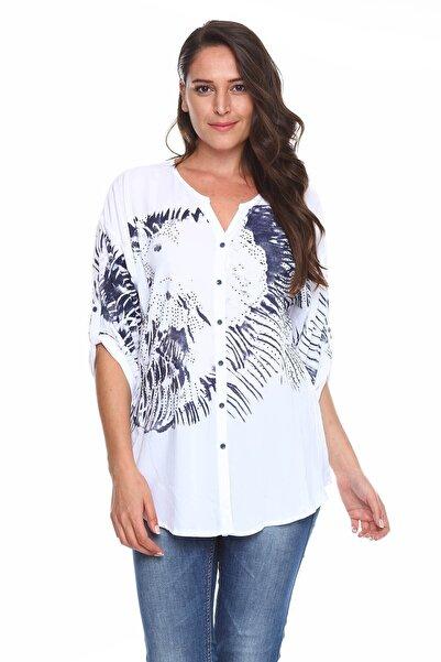 Zer Otantik Baskılı Taş Detay Büyük Beden Gömlek Bluz Beyaz