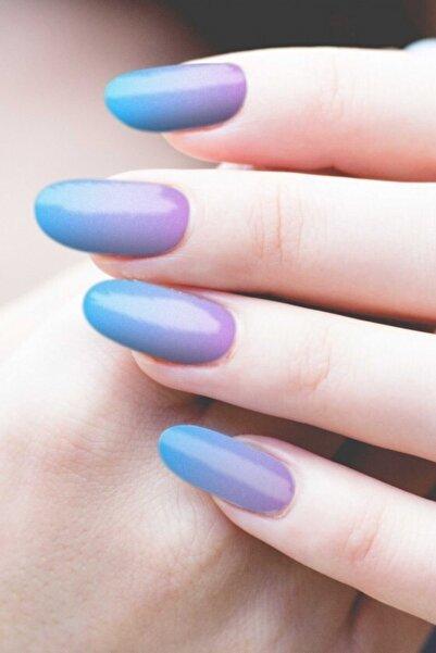 Artikel Mavi Lila Ombre Tırnak Dövmesi