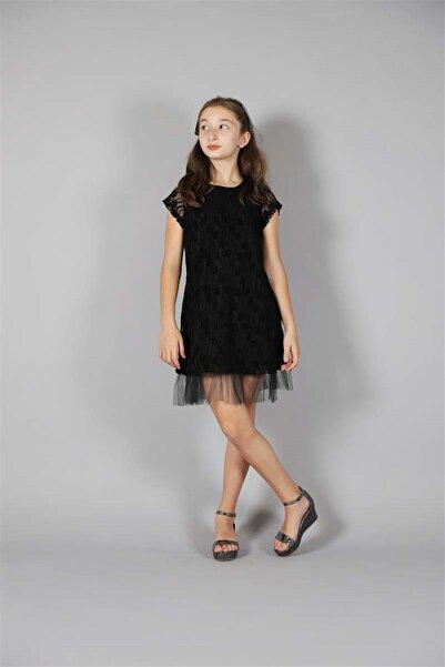 Marions Kız Çocuk Güpürlü Siyah Abiye Elbise