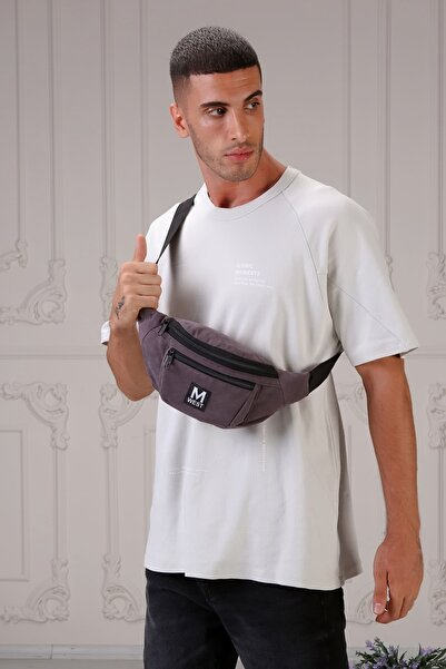 Moda West Unisex Gri Süet 3 Bölmeli Çapraz Bel ve Omuz Çantası