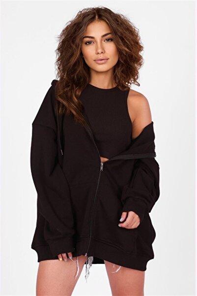 Madmext Mad Girls Siyah Kapüşonlu Sırt Baskılı Sweatshirt Mg1195