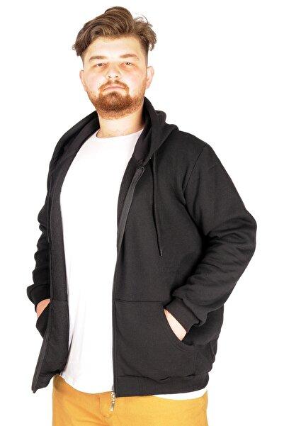 ModeXL Büyük Beden Erkek Sweatshirt Zippered Recycle B20533 Siyah