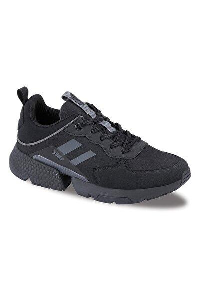 Jump Kadın Siyah Kalın Taban Spor Yürüyüş Sneaker Ayakkabı