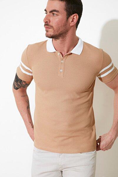 TRENDYOL MAN Bej Erkek Slim Fit Polo Yaka T-Shirt TMNSS21TS0516