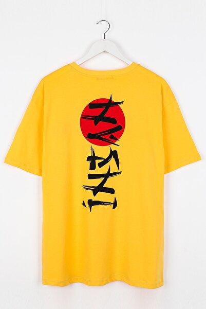 Sekizbiraltı Insan Sırt Baskılı Sarı Unisex Tshirt