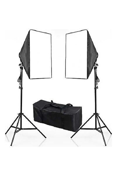 DP 50x70 Cm Softbox 2'li Sürekli Işık Seti Youtber Kit Taşıma Çantalı
