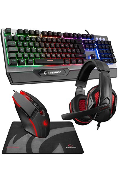 Rampage Km-26 Steely 4lü Gaming Profesyonel Oyuncu Seti Rainbow Aydınlatmalı Klavye Kulaklık Mouse Mousepad