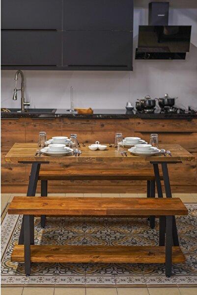 PlusAksesuar Ahşap Tasarım Yemek Masası-2 Adet Bank 4 Kişilik Yemek Masası Masif Ahşap Yemek Masası Takımı