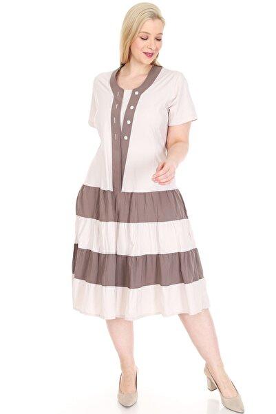 Moday Eteği Kloş Bej Büyük Beden Elbise 15d-0878