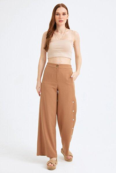 Fulla Moda Kadın Kahverengi Yanı Çıtçıtlı Bol Pantolon
