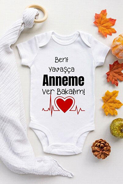 Limon Unisex Bebek Beyaz Beni Yavaşca Anneme Ver Desenli Kısa Kol Body