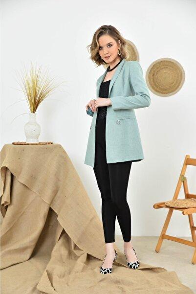 shezey Kadın Mint Yeşili Cep Kapaklı Blazer Ceket